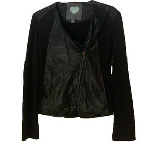 Kendall+Kylie Lightweight Leather & Fabric Jacket